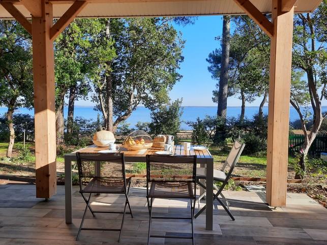 Loue maison + annexe 8/12 couchages, face au Lac de Lacanau (33), vue exceptionnelle